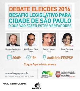 Voto Consciente São Paulo apoia o debate promovido pelo Pensamento Nacional das Bases Empresariais e a Fundação Escola de Sociologia Política de São Paulo entre candidatos a vereador.